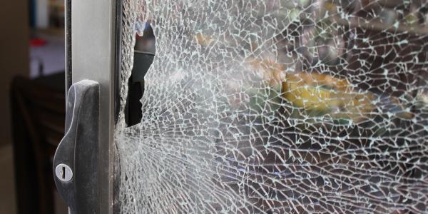 Break & Enter - Shattered Rear Sliding Door Close Up