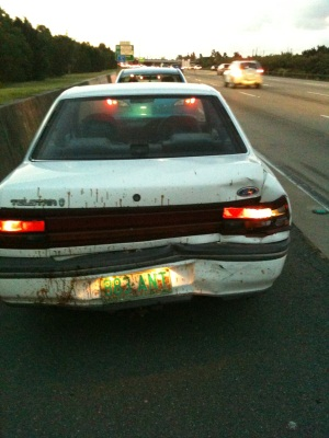 Ford Telstar, after being rear ended by a Toyota Camry
