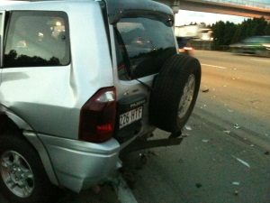 Mitsubishi Pajero, after being rear ended by a Mitsubishi Lancer at about 100kph