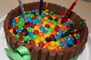 Hugo Lattimore - 4th Birthday Green Cake Covered In M&M's and Wrapped in KitKat