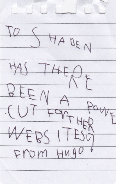 Hugo's letter to Shaden