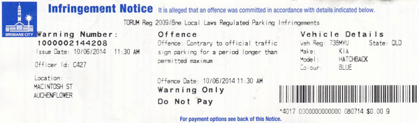 Brisbane City Council - Parking Infringement Warning Notice