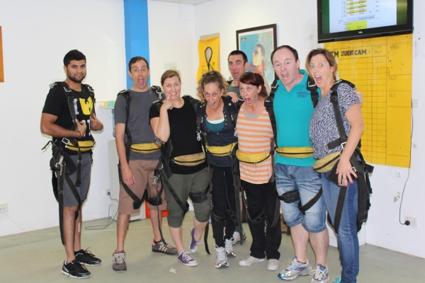 Skydiving Harnesses On, Ready To Go